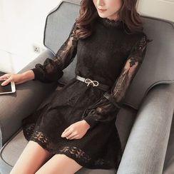 伊之恋 - 蕾丝拼接长袖连衣裙