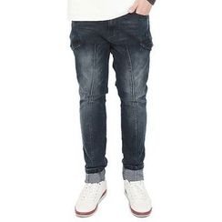 Seoul Homme - Cargo-Pocket Trim Washed Jeans
