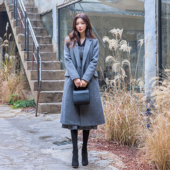 chuu - Notched-Lapel Belted Wool Blend Long Coat