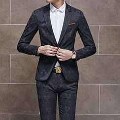 Besto - Set: Jacquard Blazer + Vest + Dress Pants