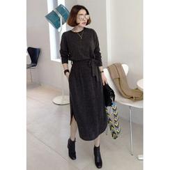 Miamasvin - Wool Blend Midi Dress with Sash
