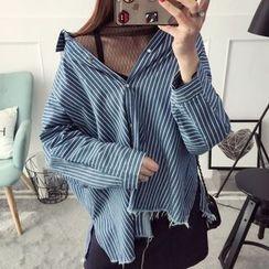 Qimi - Striped Fray Hem Shirt