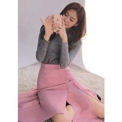 Chlo.D.Manon - Asymmetric-Hem Wool Blend Midi Flare Skirt