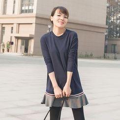 FFBABY - Ruffle Hem Long Sleeve Dress
