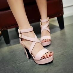 Pastel Pairs - Strappy Chunky Heel Sandals