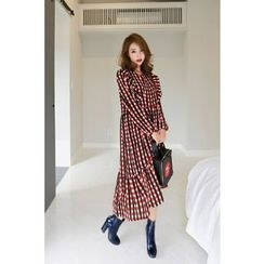 PPGIRL - Frilled-Trim Checked Long Dress