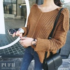 PUFII - Off-Shoulder V-Neck Knit Top
