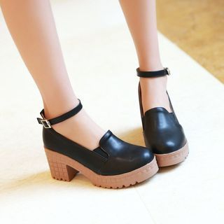 Pretty in Boots - Ankle Strap Block Heel Pumps