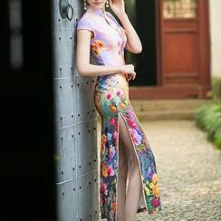 Janelle Qipao - Floral Print Cheongsam