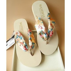 Trava - Print Wedge Flip-Flops