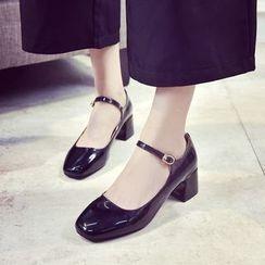 楊董 - 粗跟仿漆皮瑪莉珍鞋