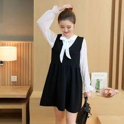 Ceres - Maternity Set: Tie-Neck Long-Sleeve Shirt + V-Neck Pinafore Dress
