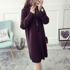 Qimi - 長袖開衩厚針織連衣裙