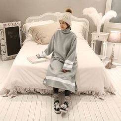NANING9 - Turtleneck Brushed-Fleece Dress