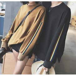Bestrooy - Couple Matching Stripe Trim Pullover
