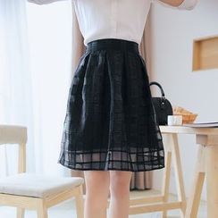 Loverac - Check A-Line Organza Skirt