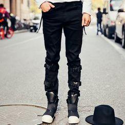 Simsam - 扣带直腿牛仔裤