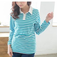 Mother Bear - Maternity Long-Sleeve Striped Polo Shirt