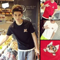 ZZP HOMME - Cat Embroidered Short-Sleeve T-Shirt