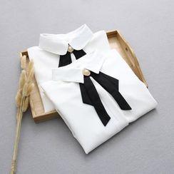 Cobogarden - Bow Long-Sleeve Chiffon Blouse