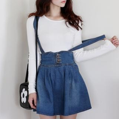 it's girl - A-Line Denim Skirt with Detachable Suspenders