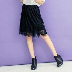 Tokyo Fashion - Elastic-Waist Lace Midi Skirt