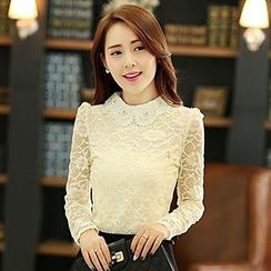 Lovebirds - Beaded Contrast-Collar Lace Blouse