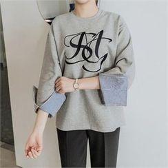 JOAMOM - Slit-Sleeve Lettering T-Shirt