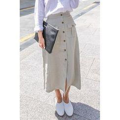 PPGIRL - Button-Detail Linen Long Skirt