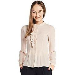 O.SA - Long-Sleeve Ruffled Chiffon Shirt