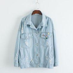 TOJI - Distressed Denim Button Jacket