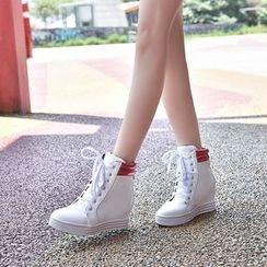 幸福鞋坊 - 仿皮高幫運動鞋
