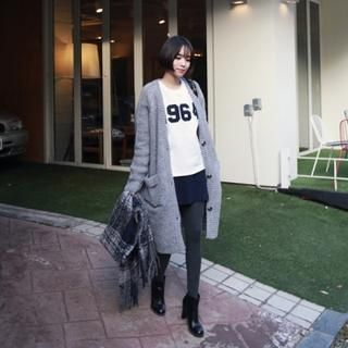 midnightCOCO - Wool Blend V-Neck Long Cardigan