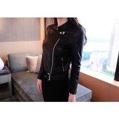 Marlangrouge - Diagonal-Zip Faux-Leather Rider Jacket