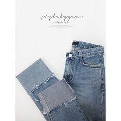 STYLEBYYAM - Cuff-Hem Straight-Cut Jeans