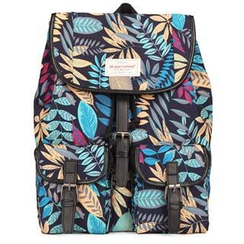 Mr.ace Homme - Leaves-Print Canvas Backpack