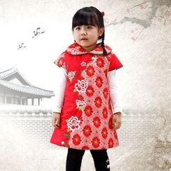 Emperial - Kids Embroidered Fleece-lined Cheongsam