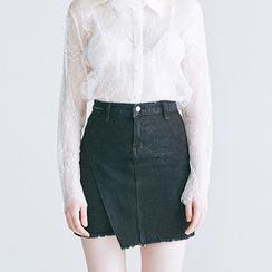 chuu - Asymmetric Fray-Hem Denim Mini Skirt