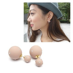 musé - Pink Ball With Rhinestone 2-Sided Earrings