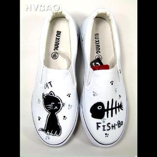HVBAO - 'Cat & Fish' Canvas Slip-Ons