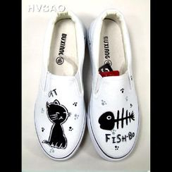 HVBAO - 'Cat & Fish' Canvas Slip-Ons