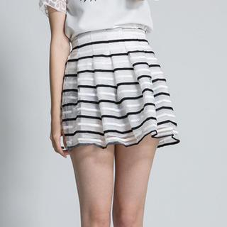 LULUS - Striped Pleated Tulle Skirt