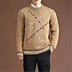 THE COVER - Thread-Appliqué Wool Blend Sweater