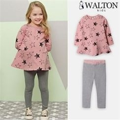 WALTON kids - Girls Set: Star Pattern Peplum Top + Leggings