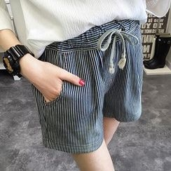 Acoustic Rain - Striped Drawstring Shorts