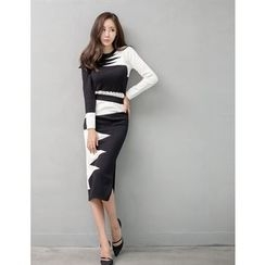 GUMZZI - Set: Contrast-Trim Knit Top + Skirt
