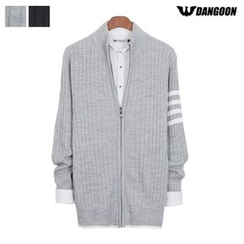 DANGOON - Stripe-Trim Ribbed Cardigan