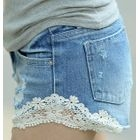 REDOPIN - Lace-Trim Denim Shorts