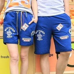 Lovebirds - Drawstring Printed Applique Couple Matching Shorts