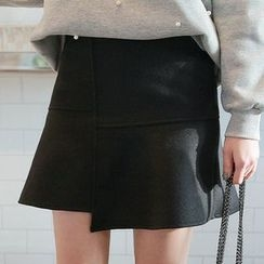 Seoul Fashion - Asymmetric-Hem Seam-Detail A-Line Mini Skirt
